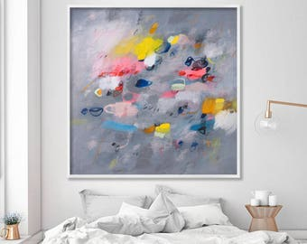 """Large Abstract Print of Painting on Canvas or paper grey art with pink yellow up to 40x40"""" modern painting"""