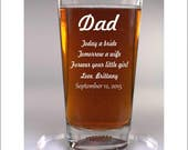 Dad Wedding Gift 1 Glass, Sport or Classic, Father of the Groom Gift or Father of the Bride Gift, Personalized Engraved
