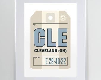 Cleveland, Ohio OH. CLE. Cleveland Hopkins Airport. Luggage Tag Poster. Baggage Tag Art. Airport Code. Aviation Print. Wall Decor.