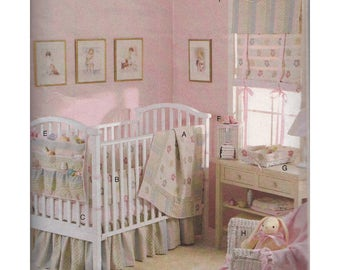 Baby Nursery Decor Sewing Pattern Quilt Bumpers Crib Sheet Dust Ruffle Organizer Diaper Stacker Basket Liner Valance Shade Vogue V8102
