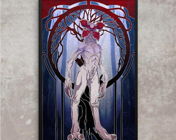 Stranger Things Poster or Framed Print, Monster in Art Nouveau Style