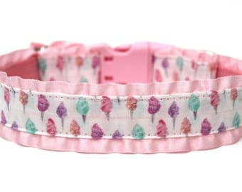 "Pink Dog Collar 1"" Cotton Candy Dog Collar With or Without Ruffles"