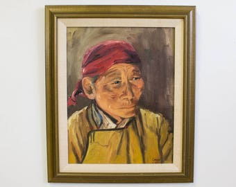 Vintage Portrait Oil Painting, Old Asian Man in Contemplation