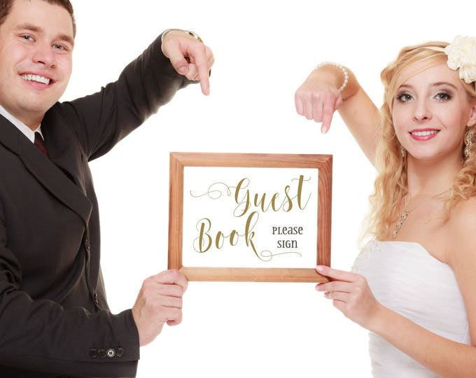 Guest Book Sign | Please Sign Our Guest Book Sign | Wedding Guestbook Sign | DIY PRINTABLE in Gold or Silver | Instant Download
