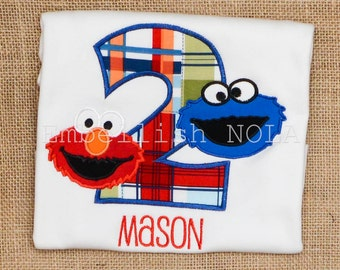 Elmo and Cookie Monster Number Applique Birthday Shirt