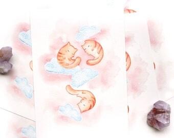 sleepy kitty | A5 WATERCOLOUR PRINT