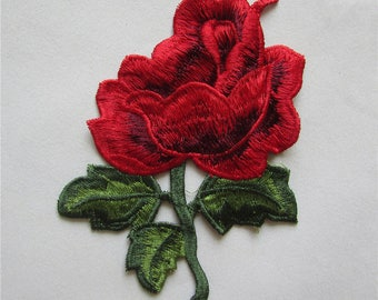 red rose Sew  On  Embroidered applique 1 pc