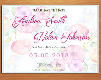 Watercolor Pastel Floral Wedding Save the Date PRINTABLE / DIY