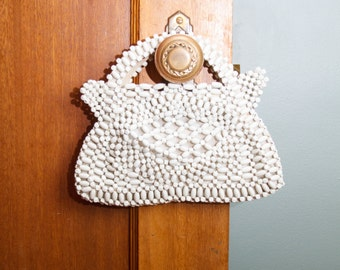 1930s Purse // White Painted Wood Bead Handbag from Czechoslovakia