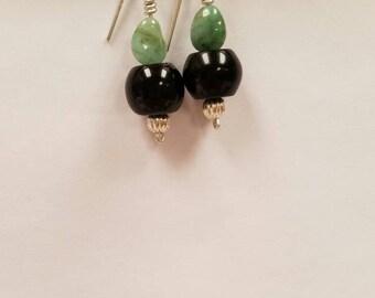 Emerald & Obsidian Silver earrings
