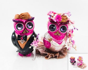 Owl pink weddings flowers cake topper handmade bride and groom for your wedding