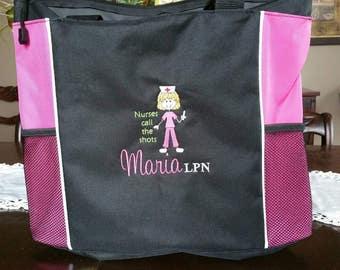 Fun personalized large tote bag - Nurses, teachers, doctors, volunteers. . .Fun Golf Bag. . .name your title -promote yourself