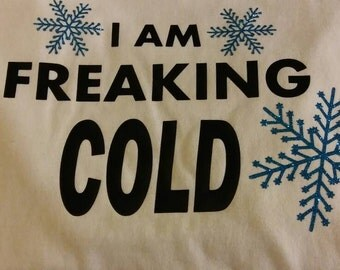Christmas shirt, winter shirt short sleeve white with black lettering blue snowflakes