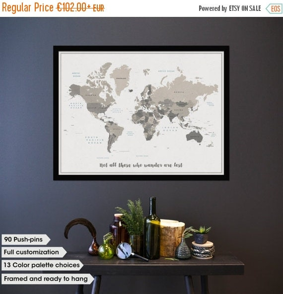 SALE Personalized travel map Travel map push pin por OuttakePrints – Personalized Travel Map With Pins