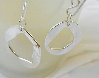 Abstract Loop Earrings, Hoop Pure Silver Earrings, Earrings for Women Hand crafted OOAK, earrings by Judy Reno, dangle, Art Earrings