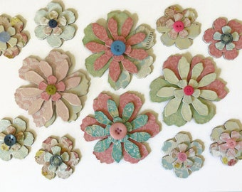 Large Chipboard Flowers - Shabby Pink & Blue Vintage Floral Style with Buttons - Scrapbooking, Cardmaking, Paper Crafts, Altered Art