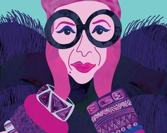 Iris Apfel Fashion Illustration Art Print