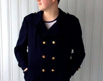 ON SALE 20% off vintage 1980s Navy Peacoat London Fog Brand MainCoat Chest 46 Wool Double breasted Pea Jacket with Canadian Naval Brass Butt