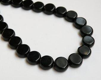 Jet Black Czech pressed glass flat round coin beads 10mm half strand JO40