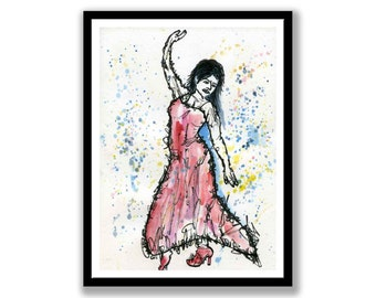 Dancing woman drawing -- Ink and charcoal -- Wall Art -- Impressionist -- Female -- dance