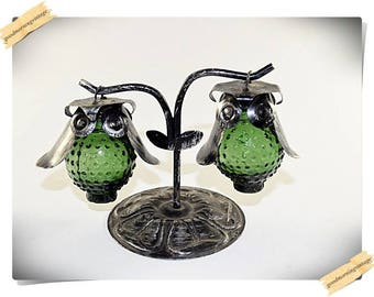 Hobnail Glass Owl Salt and Pepper Shakers