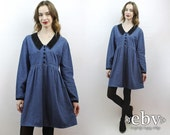 Denim Babydoll Dress 90s Dress Jean Dress 1990s Dress Denim Dress 90s Mini Dress Dolly Dress 90s Grunge Dress Velvet Mini Dress