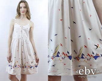 Sailboat Sundress Seagulls Sundress Border Print 70s Sundress 1970s Sundress 70s Dress 1970s Dress Nautical Dress White Dress XS S