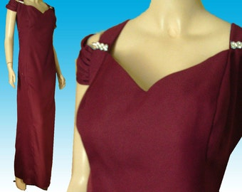 UNWORN 70s Formal w Rhinestone Brooches Bust 56 Plus Size Burgundy by Champagne Formals Made in USA Prom Bridesmaid