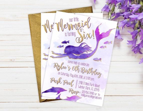 Birthday party invitations mermaid theme birthday invitation il570xn stopboris Gallery
