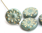 18mm Sage Green and Golden Flower beads, 2pc Czech glass Round tablet floral ornament beads, Green mixed color - 2pc - 0491