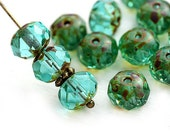 6x8mm Picasso Light Teal Green Czech glass beads, donut, rondelle, gemstone cut, fire polished - 12Pc - 2872