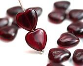 10mm Dark Red Heart beads, Garnet Red czech glass pressed beads, 20Pc - 3015