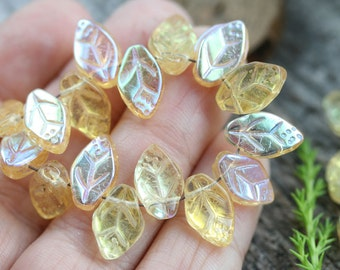 25pc Amber Yellow leaves, AB finish, Czech glass leaf beads, 12x7mm, jewelry making - 1748