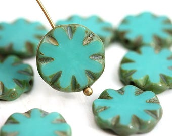 14mm Turquoise round flat beads, Coin shape czech glass Picasso beads - 8Pc - 2927