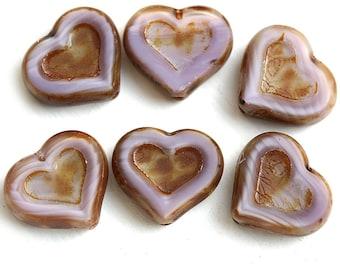 Purple Heart beads, Picasso finish czech glass beads, table cut glass heart - 14mm - 6Pc - 2982