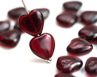10mm Dark Red Heart beads, Garnet Red czech glass pressed beads, 20Pc - 3015