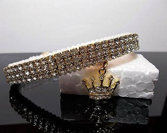 Crystal Dog,puppy, or Cat kitten  Collar with charm.