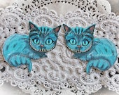 Reneabouquets Alice In Wonderland Die Cut Set~Cheshire Cat Choose Your Size 3 1/2 Wide x 3 1/4 Tall or 3  Wide x 2 3/4 Tall
