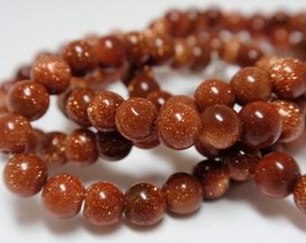 """Brown Goldstone Round Beads, 4mm Goldstone Round Beads, 15 1/2"""" Strand - 104 Beads"""