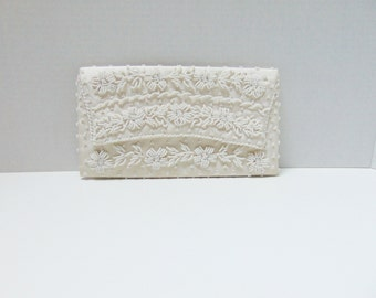 Vintage Clutch Handbag 50s Ivory White Floral Beaded Clutch Purse Satin Lining Handmade in Hong Kong