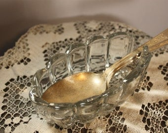 2 Vintage Glass Spoon HolderSsilverware Holder/Buffet Spoon Holder/Princess House spoon holder