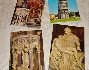 Vintage Postcards Italy Unused 4 Postcards Pisa Pieta Rome Leaning Tower of Pisa