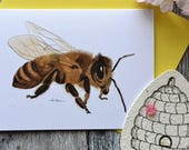 Honey Bee - Bee Greeting Card - With Plantable Seed Paper - Eco-Friendly - With Envelope