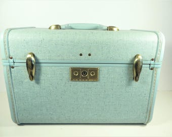 Vintage Samsonite Robins Egg Blue Tweed Train Case - Samsonite Luggage Blue Tweed - Samsonite Train Travel Case
