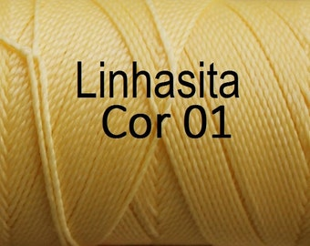 Linhasita Pastel Yellow cor 01 - 100% Waxed Polyester Macrame Cord / String / Hilo