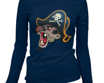 Women's Fk Beard Long Sleeve Tee - S M L XL 2x - Ladies' T-shirt, Pirate Tee, Pirate Shirt, Cartoon, Caribbean, Yell - 2 Colors