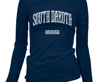 Women's South Dakota Represent Long Sleeve Tee - S M L XL 2x - Ladies' T-shirt, Gift, South Dakota Shirt, Sioux Falls, Rapid City, Aberdeen