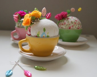 Handmade yellow teacup pin cushion - sewing accessory - pin cushion - handmade in the UK