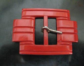Large Art Deco red belt buckle