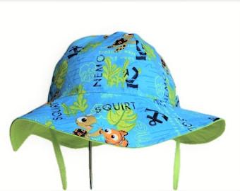 Baby Sun Hat, Toddler Hat, Nemo Sun Hat, Summer Hat, Boy Or Girl Hat, Newborn Hat, Cotton Hat, Nautical Floppy Hat, Baby Gift, Made To Order